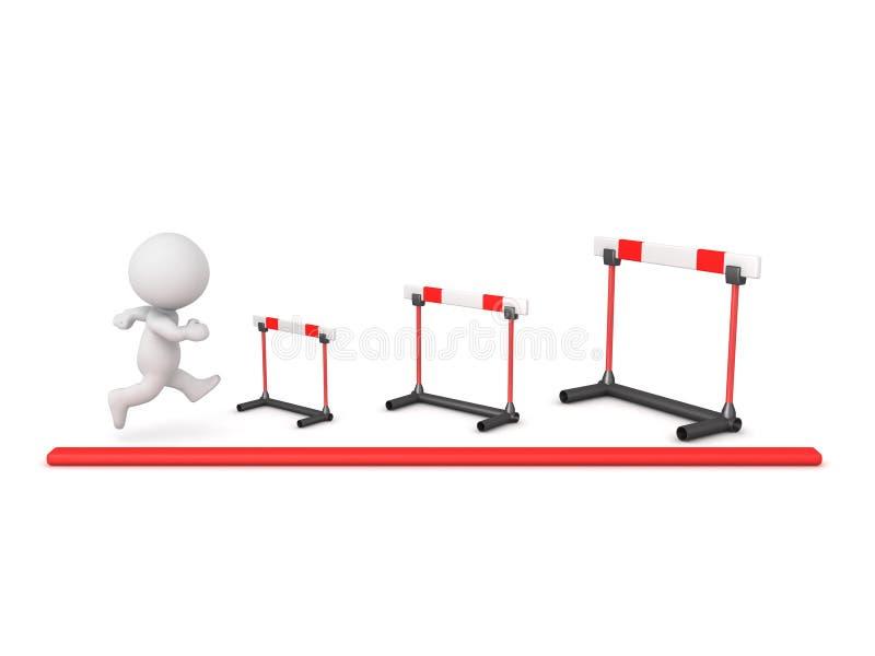 caráter 3D que aborda obstáculos cada vez mais maiores ilustração stock