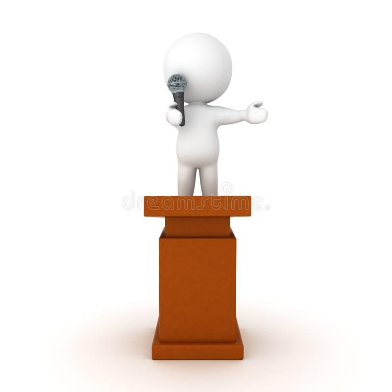 caráter 3D que está sobre um atril e que fala no microp ilustração stock