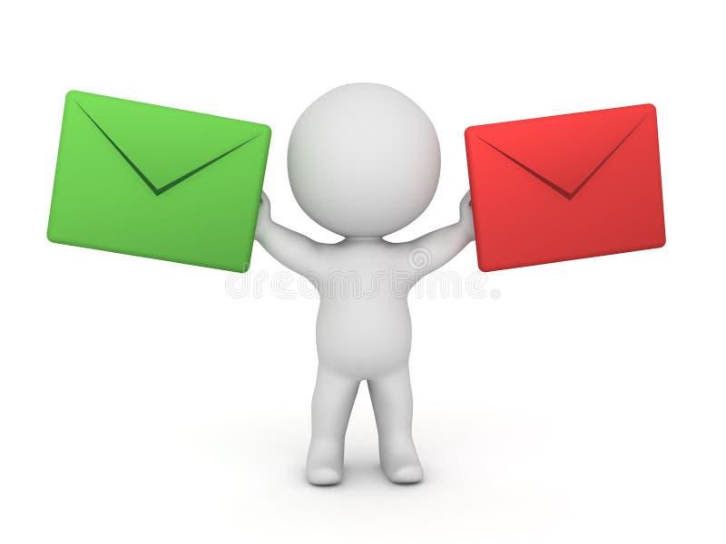 caráter 3D que guarda dois envelopes do correio - um verde e um vermelho ilustração do vetor