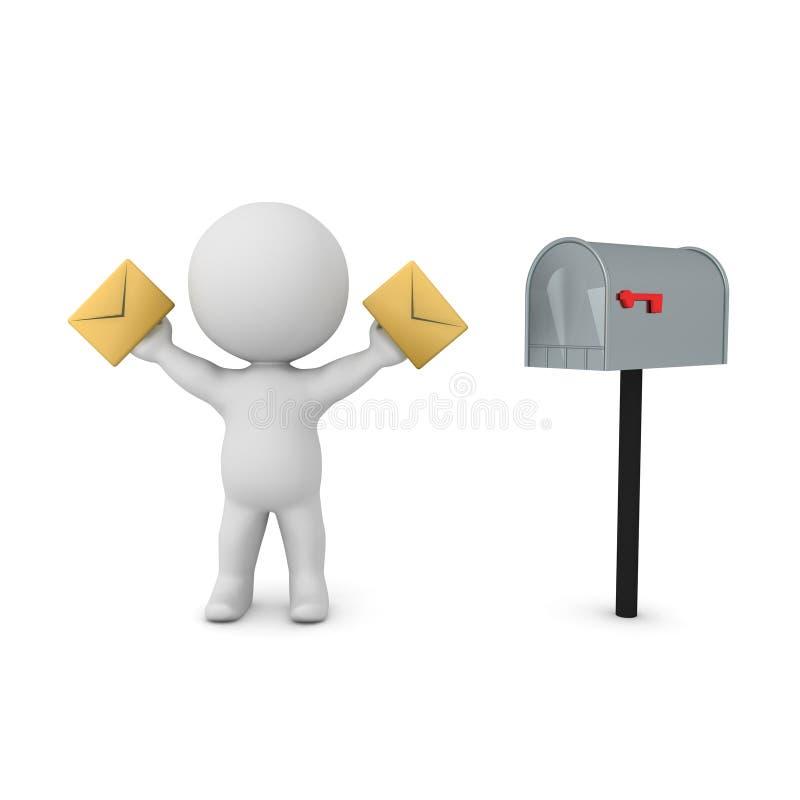caráter 3D que guarda envelopes nas mãos ao lado da caixa postal ilustração stock
