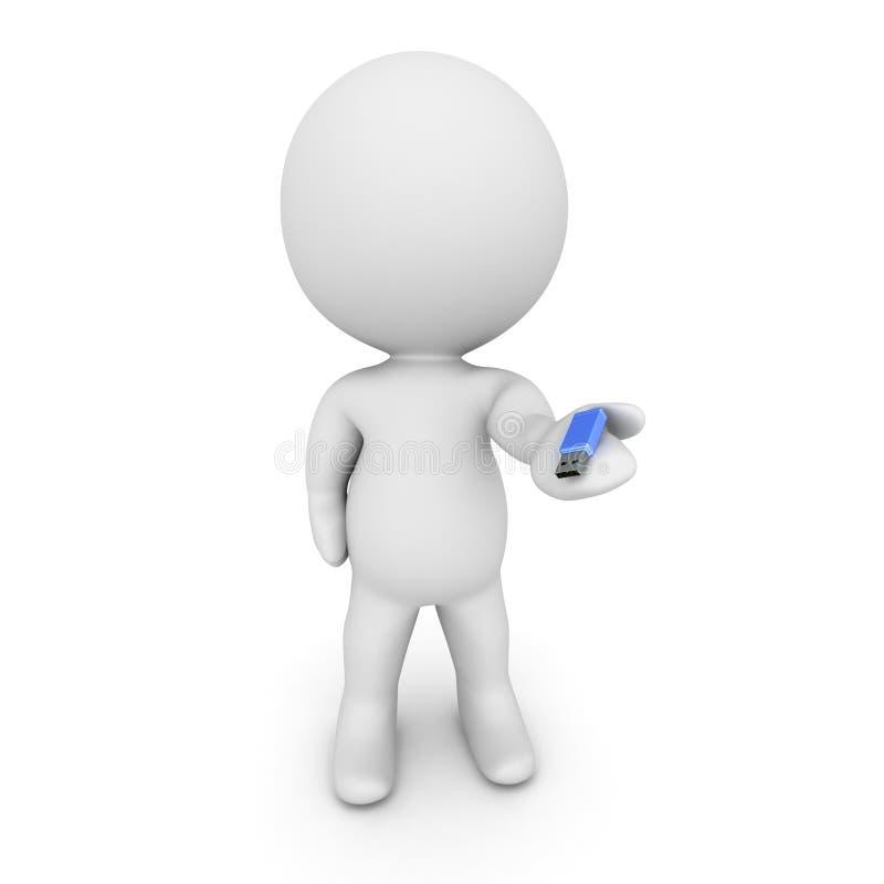 caráter 3D que guarda a vara pequena de USB ilustração do vetor