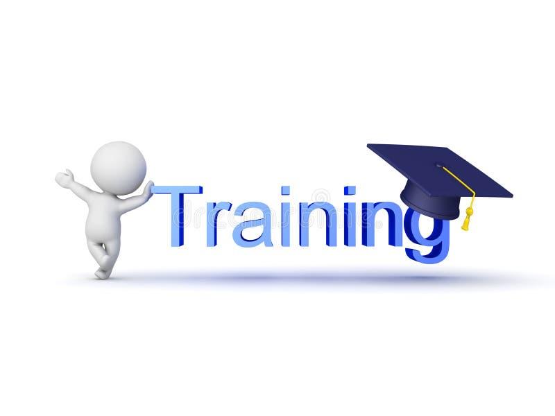 caráter 3D que mostra o sinal do treinamento com o tampão da graduação nele ilustração stock