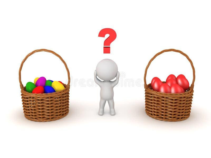 caráter 3D que senta-se no ovo da páscoa vermelho gigante ilustração royalty free