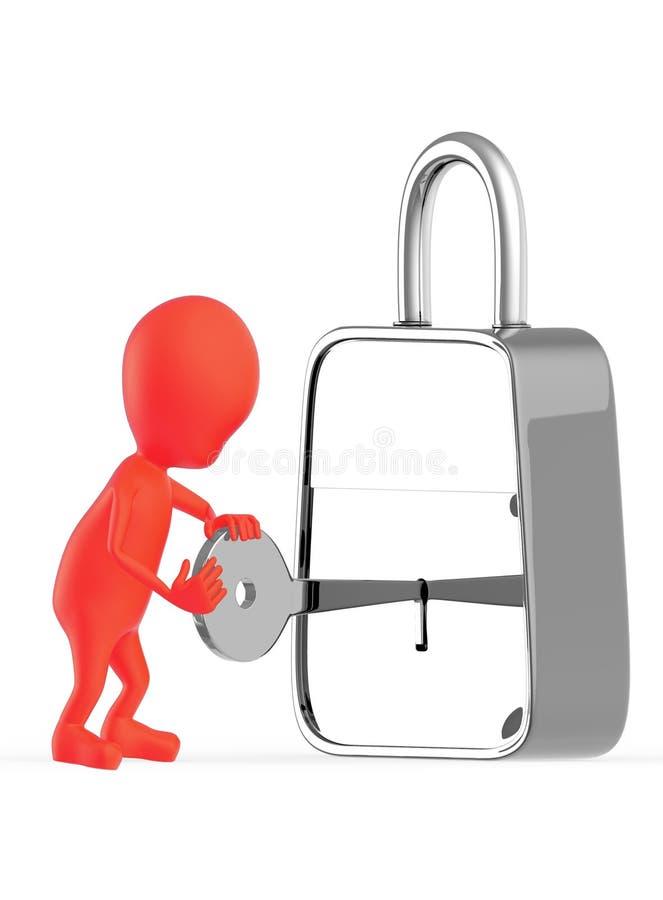 caráter 3d vermelho que insterting uma chave dentro a um fechamento, destravagem, travando ilustração do vetor