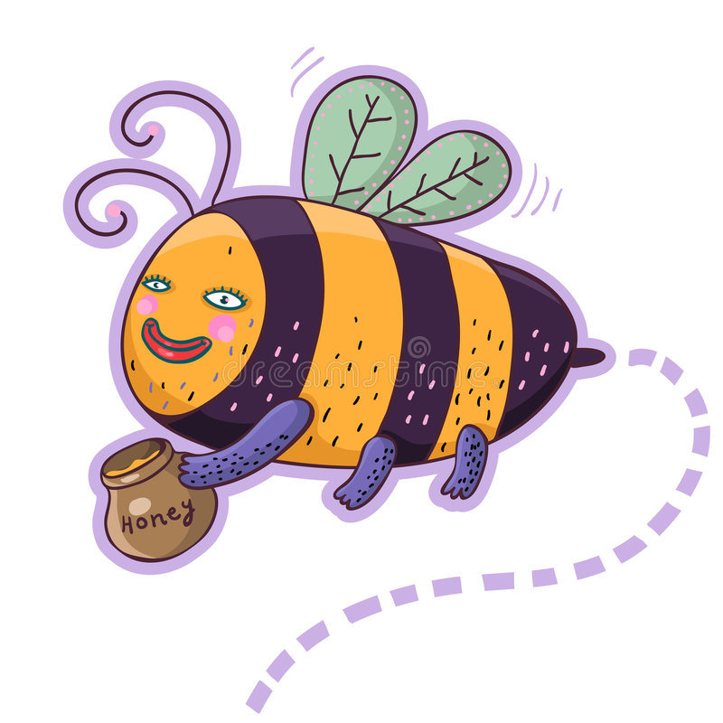 Caráter da abelha dos desenhos animados ilustração do vetor