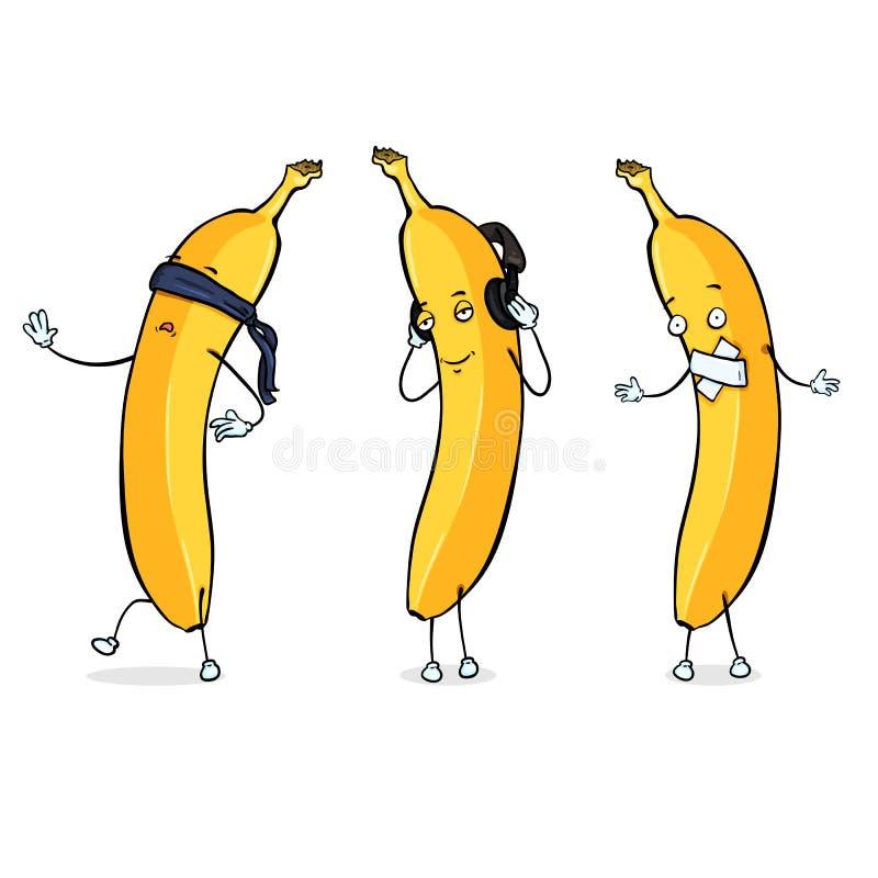Caráter da banana do vetor - cego, surdo e mudo ilustração do vetor