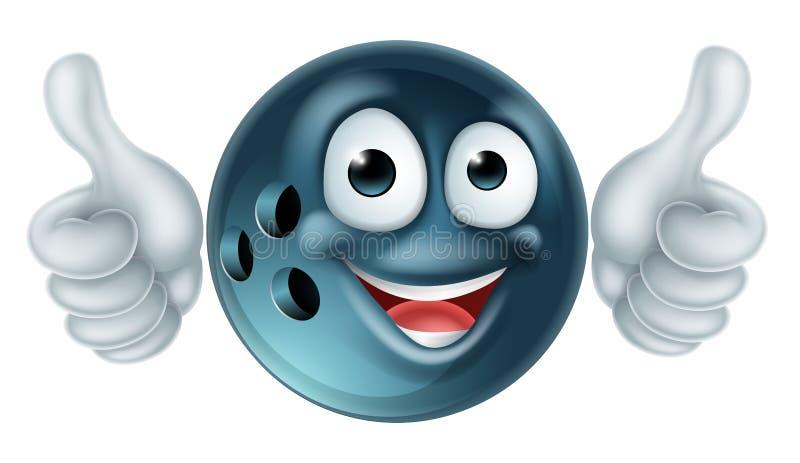Caráter da bola de boliches dos desenhos animados ilustração stock