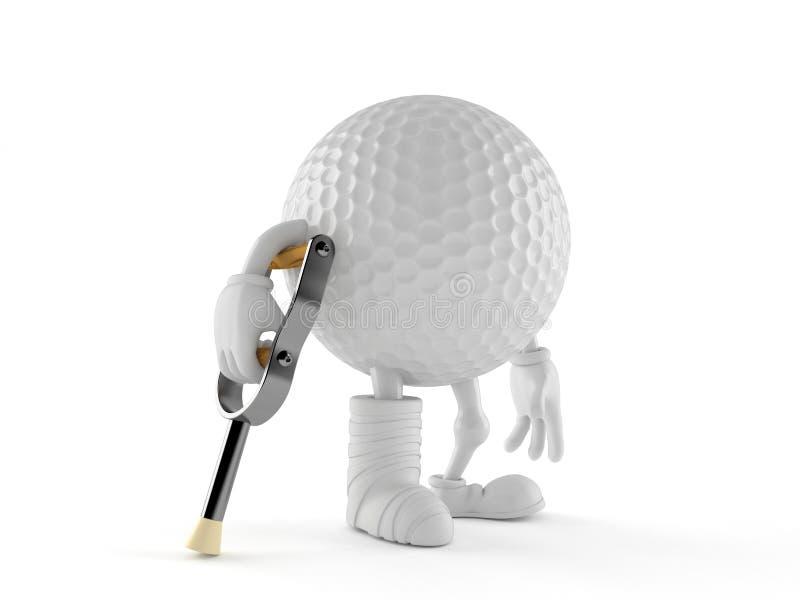 Caráter da bola de golfe com pé quebrado ilustração do vetor