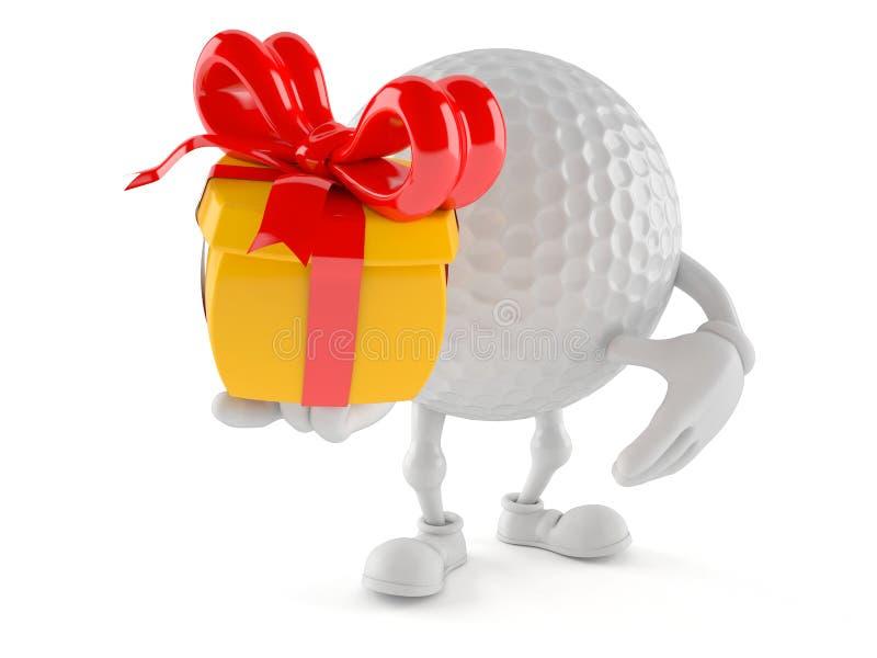 Caráter da bola de golfe que guarda o presente ilustração do vetor