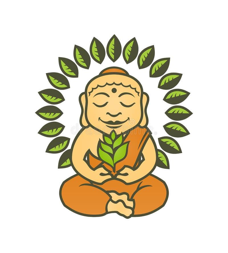 Caráter da Buda com as plantas na pose dos lótus ilustração do vetor