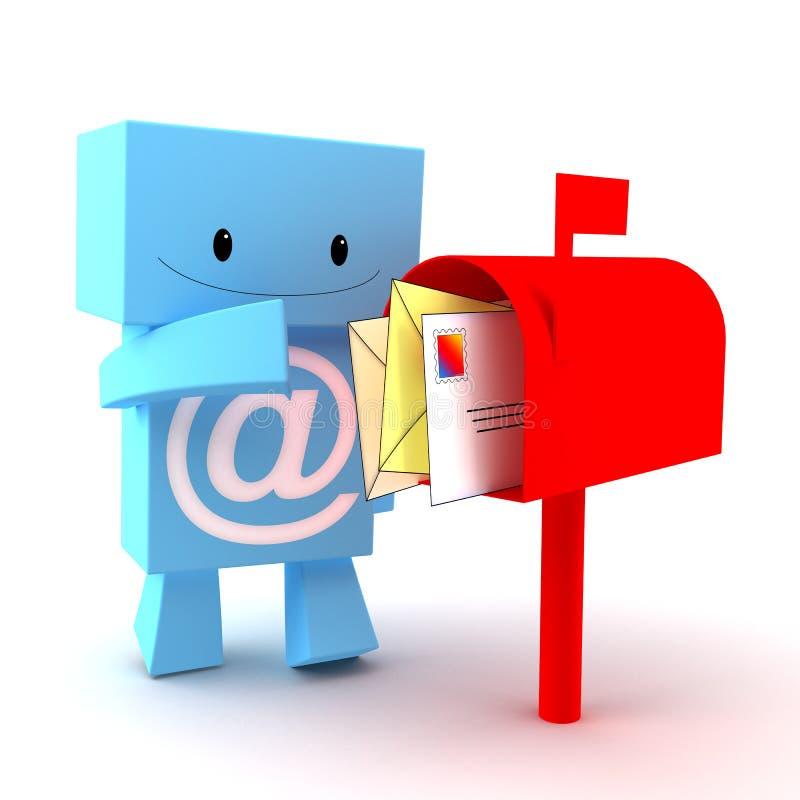 Caráter da caixa postal 3D ilustração stock
