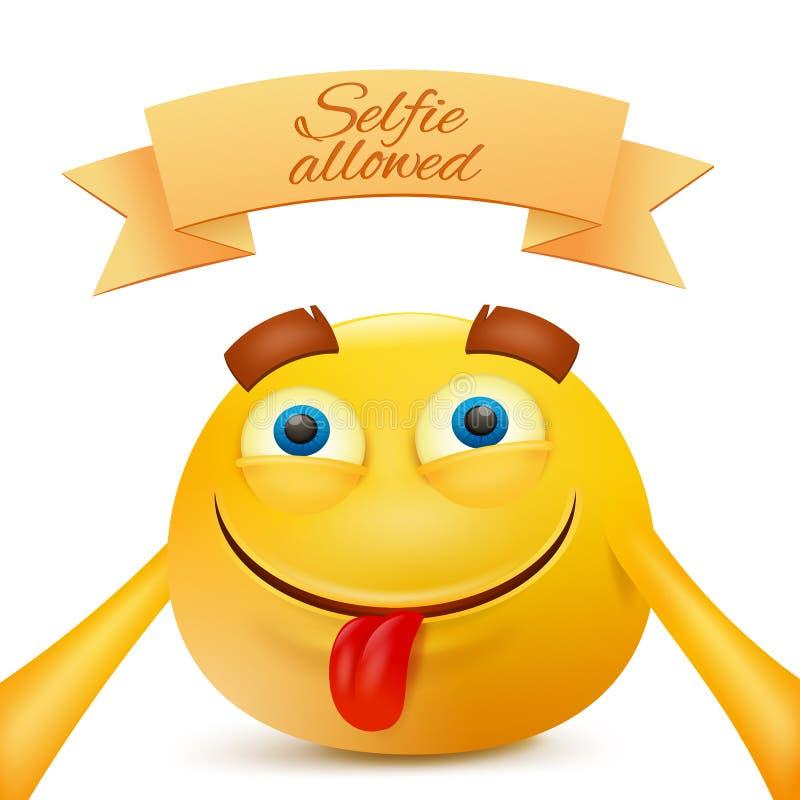 Caráter da cara do amarelo do smiley do emoticon de Emoji que faz o selfie ilustração do vetor