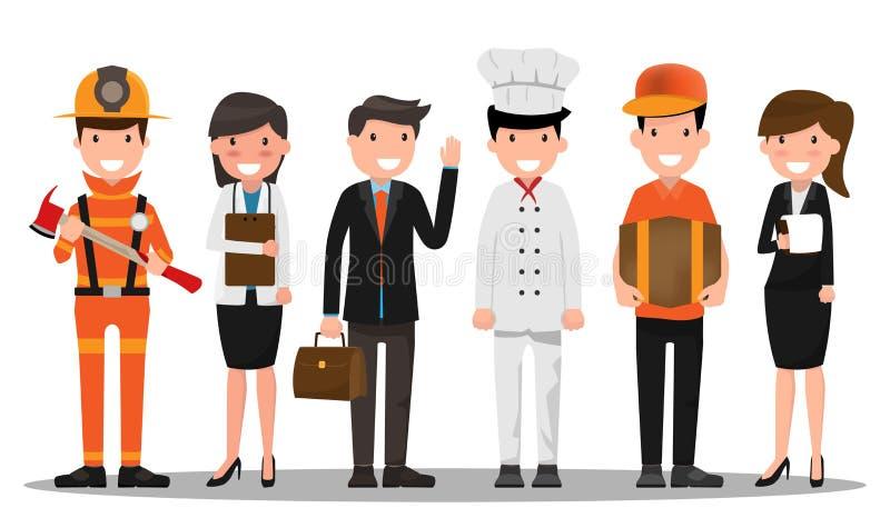 Caráter da carreira no conceito do Dia do Trabalhador Um grupo de pessoas de diff ilustração stock