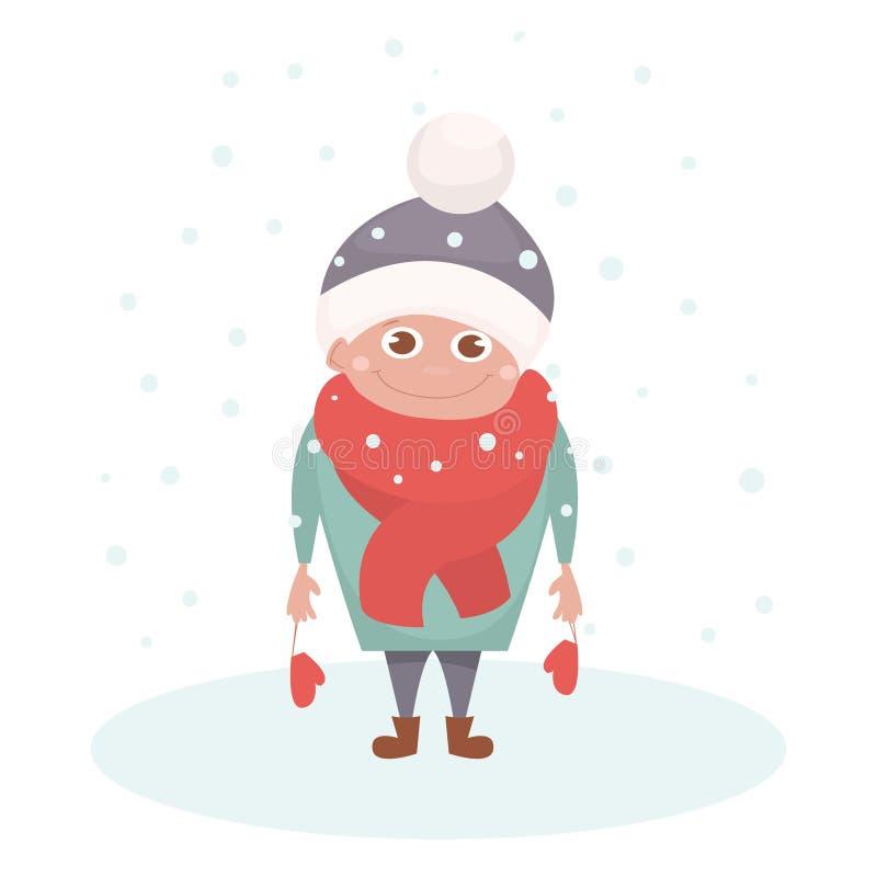 Caráter da criança sob o floco de neve isolado no branco Criança feliz no inverno Ilustração do vetor Personagem de banda desenha ilustração stock