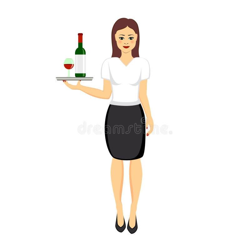 Caráter da empregada de mesa do restaurante que guarda a bandeja com vidro e garrafa do vinho tinto Ilustração do vetor isolada n ilustração stock