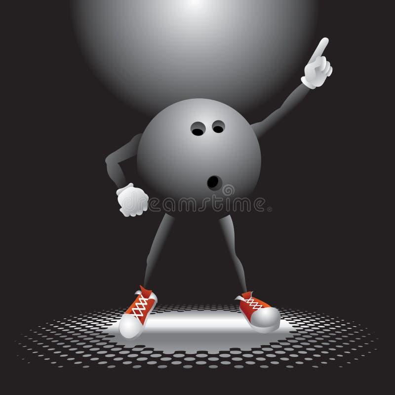 Caráter da esfera de bowling no salão de baile ilustração royalty free