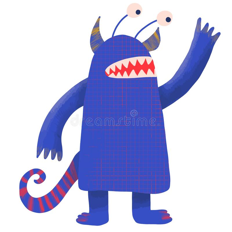 Caráter da fantasia para o projeto do papel de parede Vetor fresco da aquarela do projeto do vetor do monstro Fundo azul da cor p ilustração royalty free