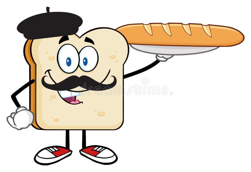 Caráter da fatia do pão com Baret e o Baguette perfeito do pão francês de apresentação do bigode ilustração stock