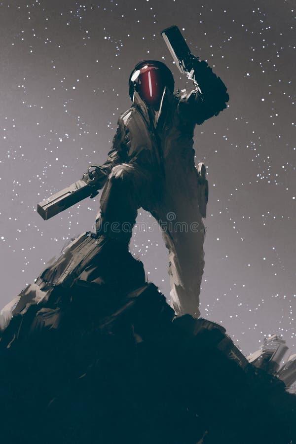 Caráter da ficção científica no terno futurista que guarda duas armas ilustração do vetor