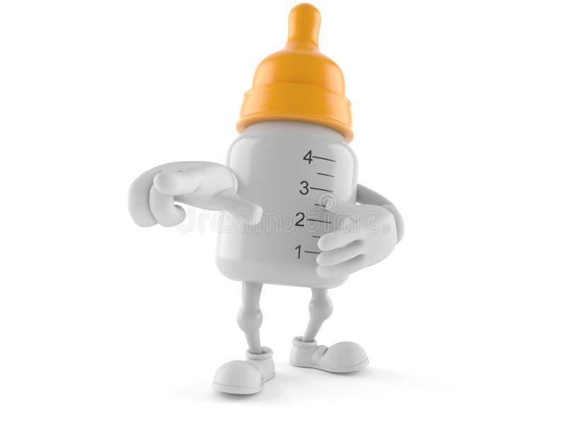 Caráter da garrafa de bebê que aponta o dedo ilustração royalty free