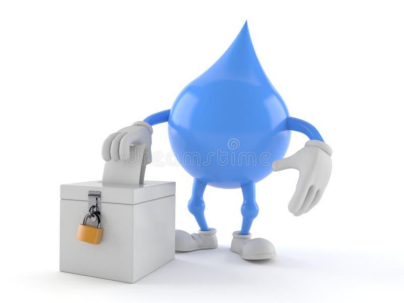 Caráter da gota da água com cédula do voto ilustração royalty free