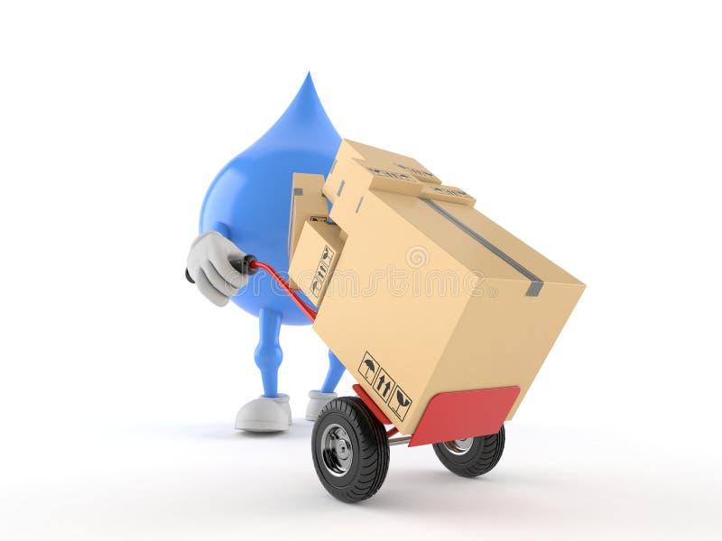 Caráter da gota da água com caminhão de mão ilustração do vetor