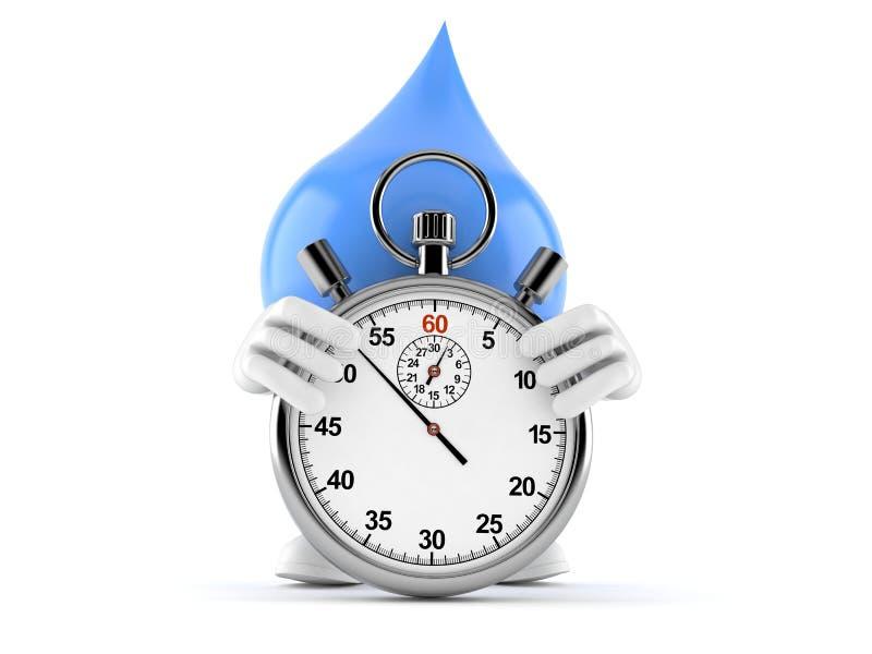 Caráter da gota da água com cronômetro ilustração stock