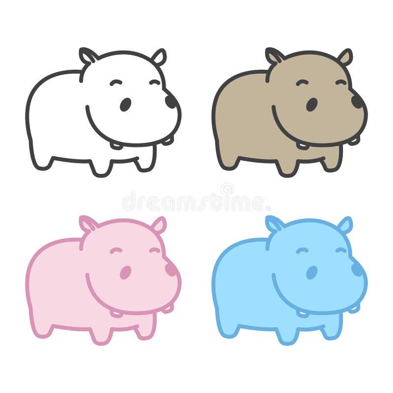 Caráter da ilustração dos desenhos animados do logotipo do ícone do hipopótamo do vetor do hipopótamo ilustração stock