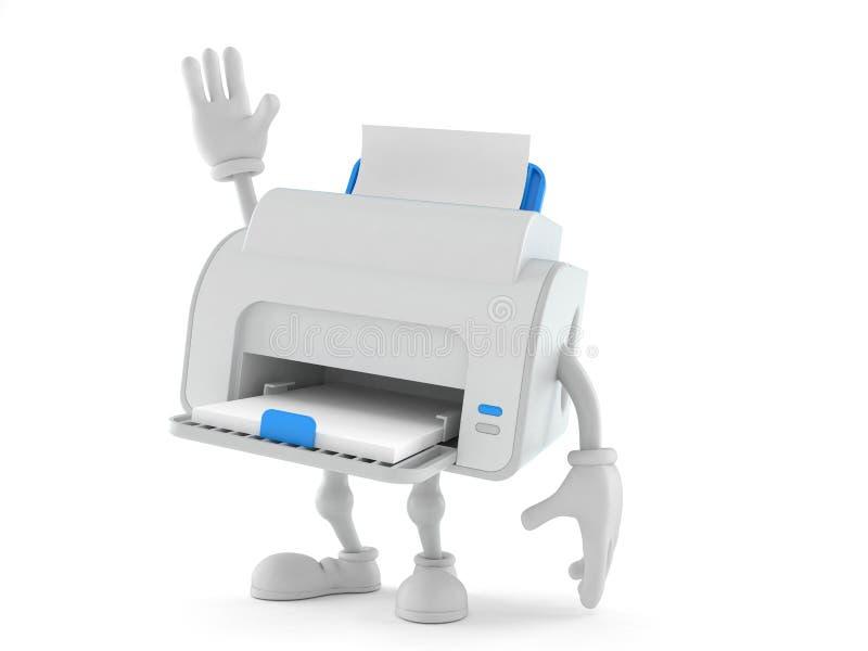 Caráter da impressora com mão acima ilustração royalty free