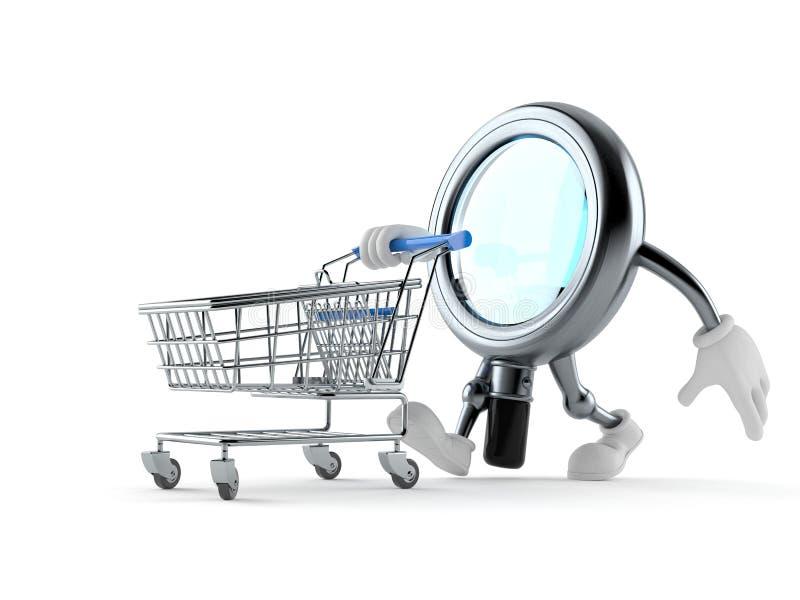 Caráter da lupa com carrinho de compras ilustração stock