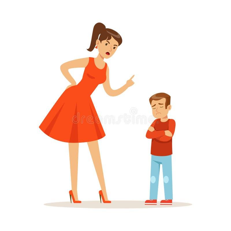 Caráter da mãe que discute sua ilustração do vetor do filho da virada ilustração royalty free