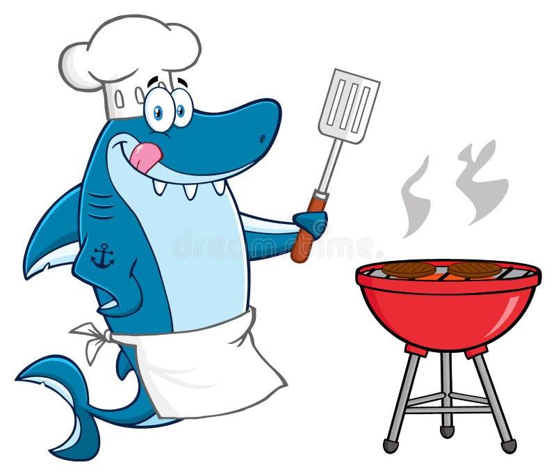 Caráter da mascote de Blue Shark Cartoon do cozinheiro chefe ilustração do vetor