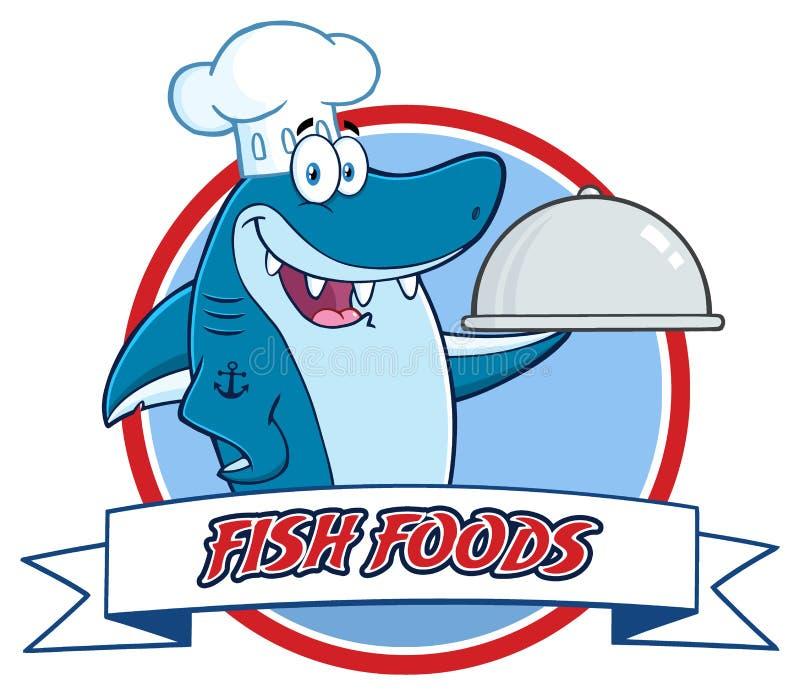 Caráter da mascote de Blue Shark Cartoon do cozinheiro chefe que guarda uma bandeja sobre uma bandeira da fita ilustração stock