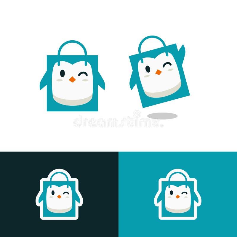 caráter da mascote do vetor do logotipo da loja da loja do saco de compras do pinguim ilustração stock