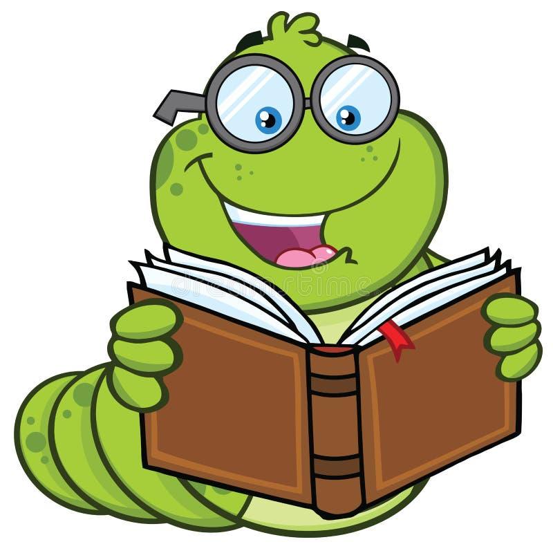 Caráter da mascote dos desenhos animados do sem-fim de livro com vidros que lê um livro ilustração stock