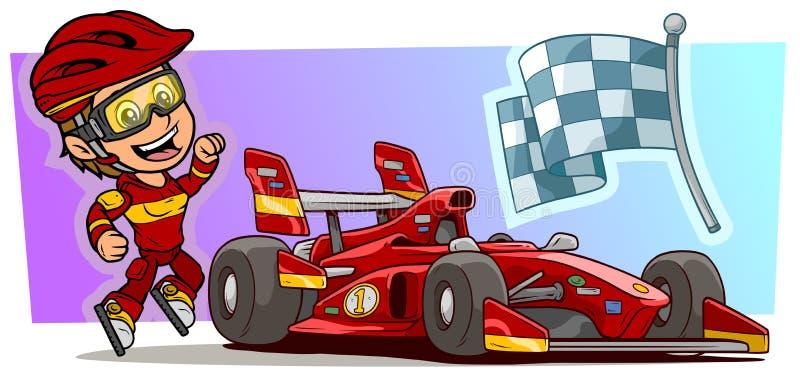 Caráter da menina dos desenhos animados com o carro desportivo vermelho moderno ilustração stock