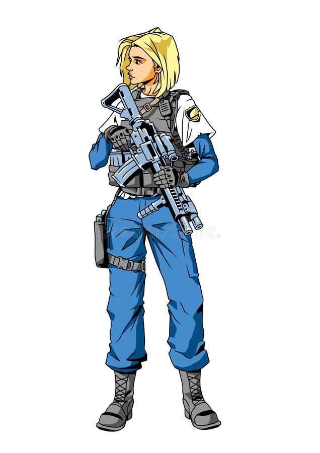 Caráter da menina da polícia ilustração do vetor