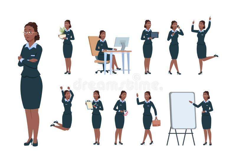 Caráter da mulher de negócio Trabalhador profissional do escritório afro-americano fêmea em poses diferentes da atividade cartoon ilustração do vetor
