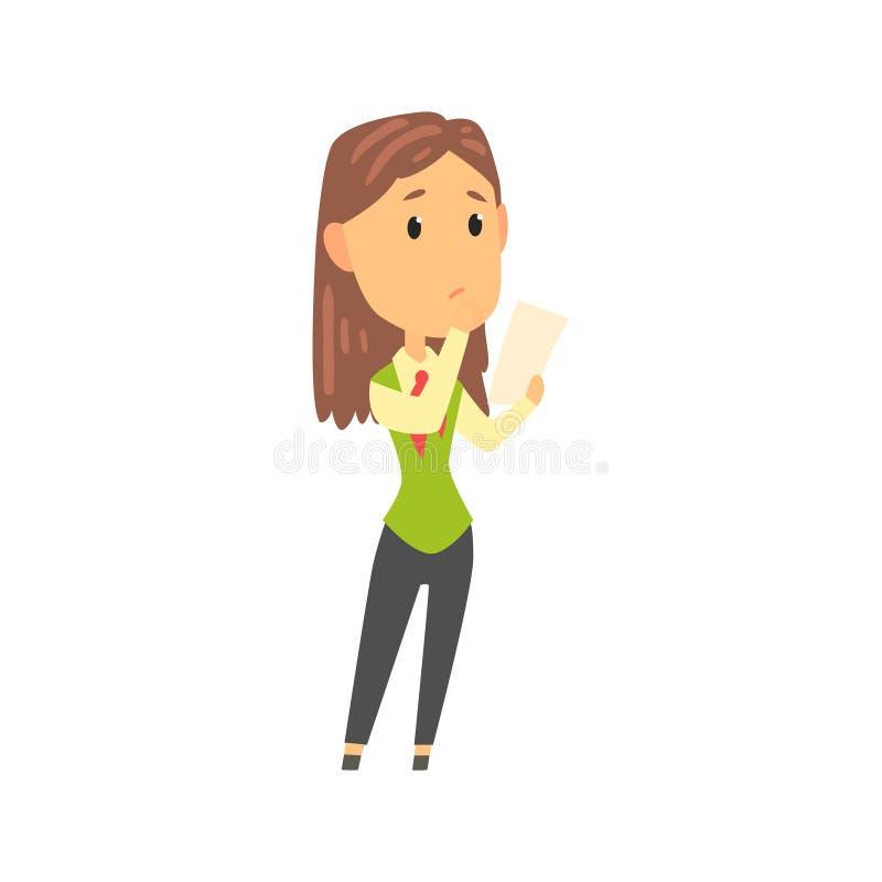Caráter da mulher de negócios na posição do vestuário formal e original da leitura, pessoa do negócio no vetor dos desenhos anima ilustração royalty free