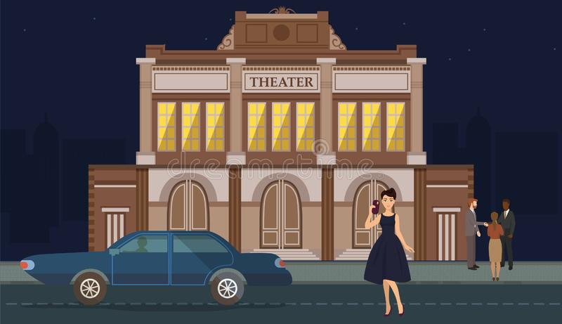 Caráter da mulher que veste o equipamento luxuoso perto do carro no fundo da construção do teatro Menina no vestido elegante com  ilustração royalty free