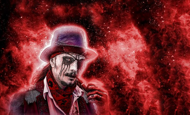 Caráter da novela do horror Pirata irritado agressivo com a tubulação na boca, aumentada dos mortos E imagem de stock