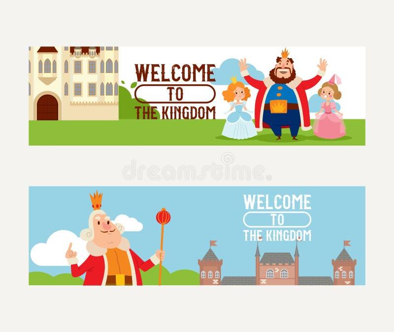 Caráter da princesa do rei do vetor do reino dos desenhos animados no grupo dos direitos do contexto da torre do palácio do conto ilustração royalty free