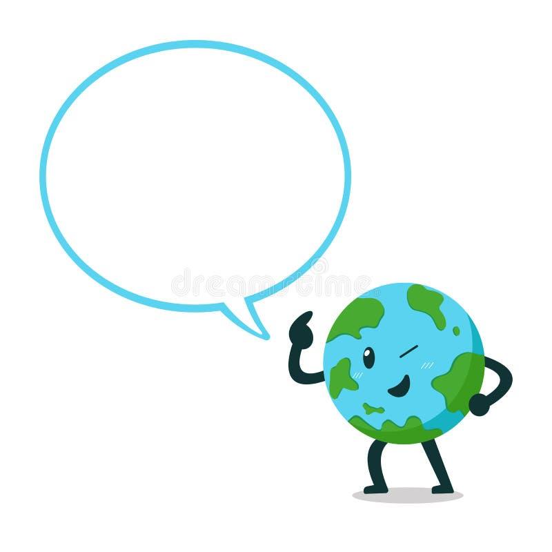 Caráter da terra dos desenhos animados do vetor com bolha grande do discurso ilustração royalty free