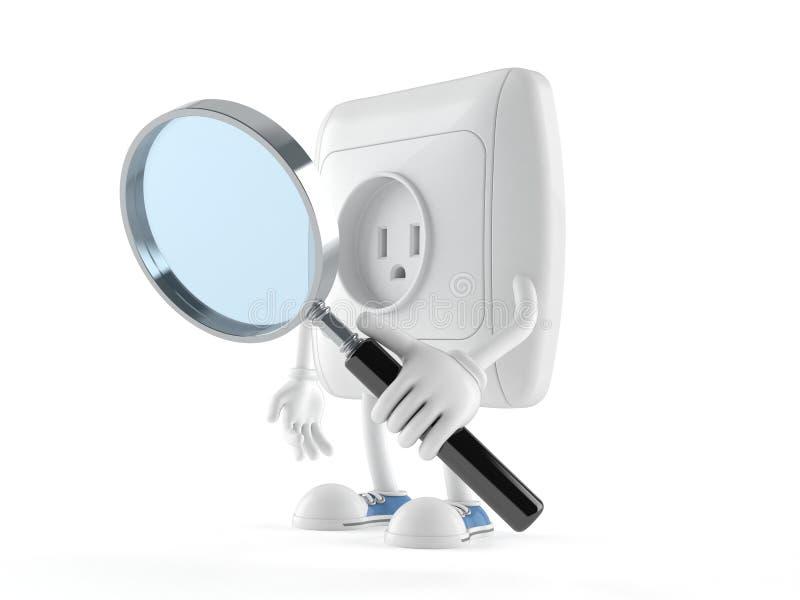 Caráter da tomada que olha através da lupa ilustração stock