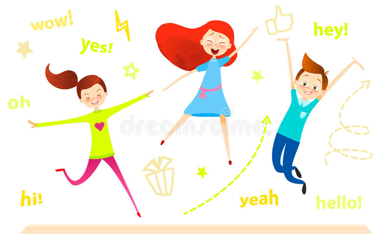 Caráter das crianças dos desenhos animados O salto dos miúdos As meninas e o menino felizes apreciam e jogar ilustração do vetor