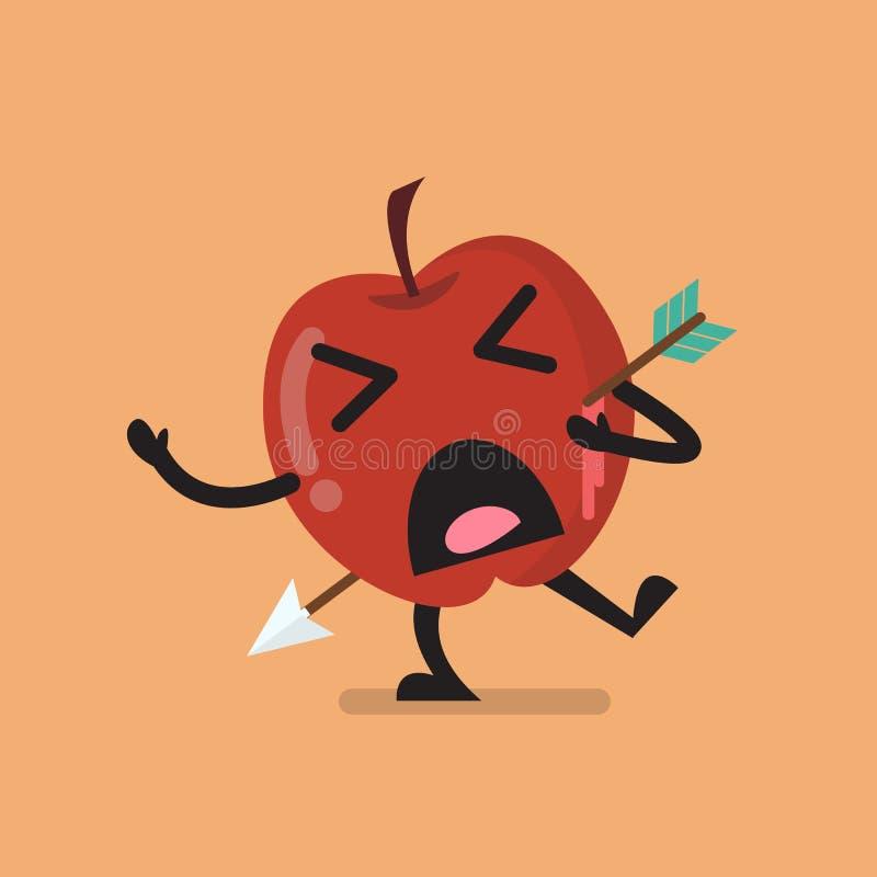 Caráter de Apple disparado por uma seta ilustração stock