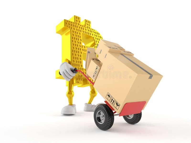 Caráter de Bitcoin com caminhão de mão ilustração royalty free