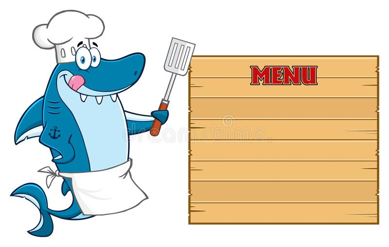 Caráter de Blue Shark Cartoon do cozinheiro chefe que lambe seus bordos e que guarda uma espátula à placa vazia de madeira com me ilustração stock