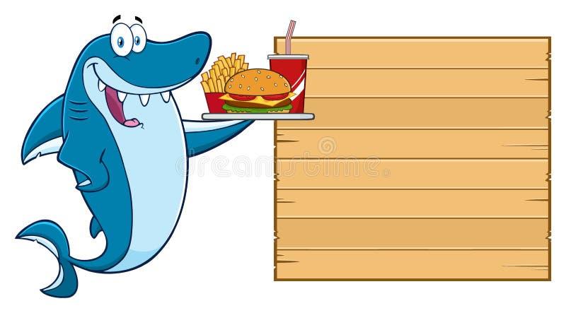 Caráter de Blue Shark Cartoon do cozinheiro chefe que lambe seus bordos e que guarda uma espátula à placa vazia de madeira com me ilustração do vetor