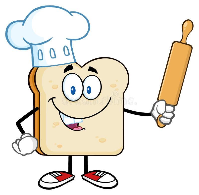 Caráter de Bread Slice Cartoon do padeiro com cozinheiro chefe Hat Holding um pino do rolo ilustração royalty free